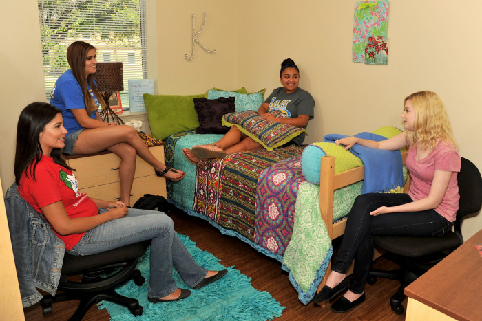 Students in the resident hall.