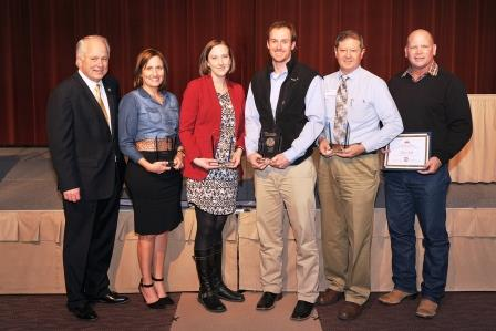 Dr. Brian May, ASU president, stands with winners of the 2014-15 Staff Excellence Awards: Annette Dixon, Customer Service; Jayna Phinney, Innovation; Brian Jackson, Commitment to Excellence; Don Cheek, Leadership; and Clay Smith, Colonel Rowan Award.