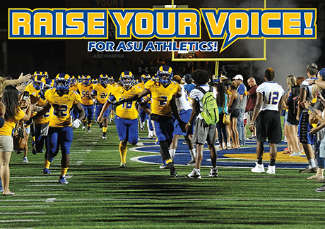 Angelo State Football team with fans