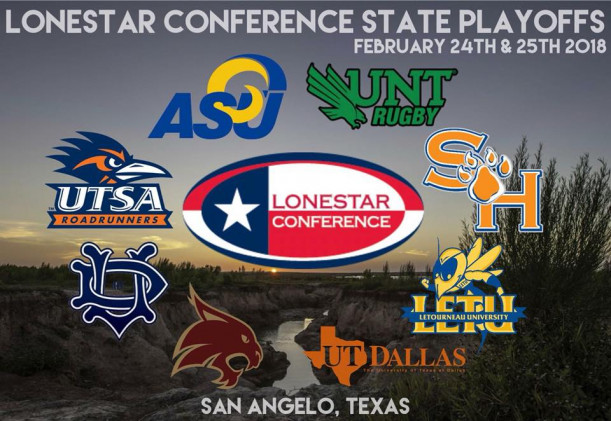 Logos for all participated schools in the 2018 Lone Star Conference Tournament