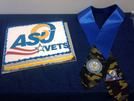 Graduation cake and stoll at the VETS Center at Angelo State University.