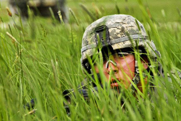 A U.S. Soldier with Hawk Company, 3rd Squadron, 2nd Cavalry Regiment takes cover in high grass at the Grafenw?hr Training Area in Germany May 24, 2012, while conducting company external evaluations. The evaluations assessed the company's troop-leading procedures and combined arms abilities.