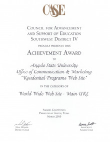 Achievement Award - Residential Programs Web Site