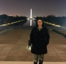 Chasity Paxton standing in front of the Washington Monument in Washington DC