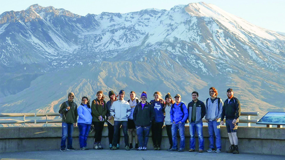 Students in front of Mount St. Helens
