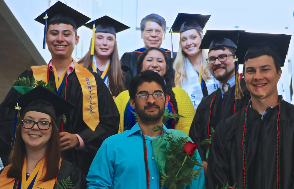 Gonzales (upper left) with some of his fellow ASU biology graduates in 2016.
