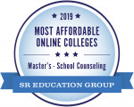 2019 Most Affordable Online Colleges Master's in School Counseling SR Education Group Badge