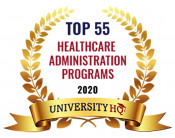 Top 55 Healthcare Administration Programs 2020 badge