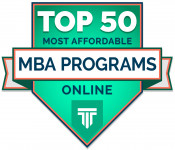 Top 50 Most Affordable MBA Programs Online Badge