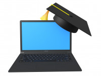 3d laptop and graduation hat