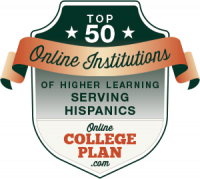 Top 50 Online Hispanic-Serving Institutions Badge