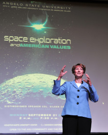 Retired astronaut and Air Force Col. Eileen Collins was the featured speaker at the 2015 Holland University Symposium on A...