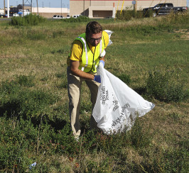 Scottie Moler, a graduate student from Burlington, Iowa, helped pick up trash for ASU's second annual Ram Blitz volunteer event Thursday.