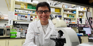 Angelo State alum Jake Gonzales in the Bunnik Lab at UT Health San Antonio