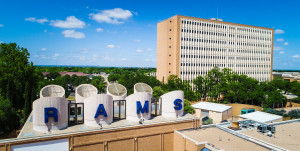 Angelo State High Rise residence hall and Rams sign