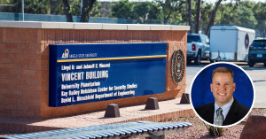 Angelo State's Vincent Building Sign with inset photo of Dr. William Taylor