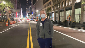 Cole Strain on the deserted streets of New York Center at the completion of his shift at a NYC hospital.