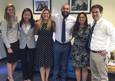Briana Martinez (second from right) and her fellow interns with Dr. David Adesnik, policy director at the Foreign Policy Initiative (right), were the only five students chosen nationwide for the summer internship program.