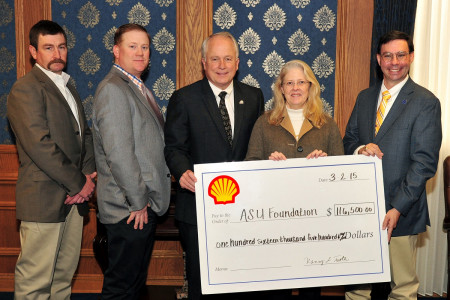 (L to R) Dr. Cody Scott, Dr. Mike Salisbury, ASU President Brian J. May, Nancy Tootle of Shell Oil, Dr. James Ward