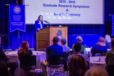 Dr. Susan Keith, dean of the College of Graduate Studies, presented awards to this year's Outstanding Graduate Students.
