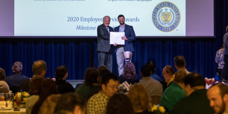 ASU President Brian J. May distributed the Service Awards in front of a packed house in the Houst...