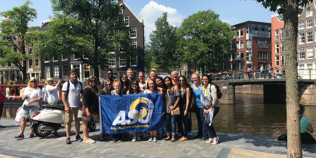 Social work students and faculty on study abroad in Amsterdam.