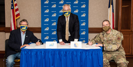 (L-R) Dr. Don Topliff, Dr. Paul Swets and Maj. David Cote, 17th Communications Squadron commander...
