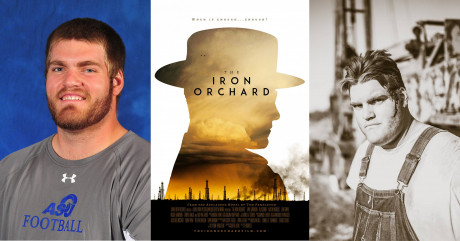 "(L to R) Osmanski's 2014 ASU football photo; ""The Iron Orchard"" official movie post..."