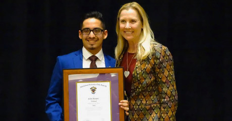 Cody Vasquez and Gayle Randall with Cody's Delta Sigma Pi 2020 National Collegian of the Year Awa...