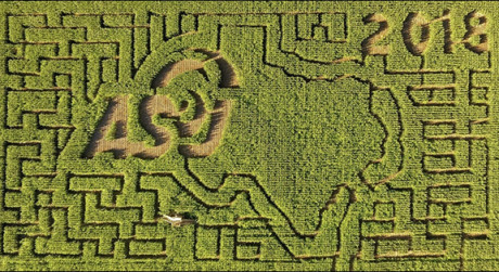 An overhead shot of the ASU logo in the 2018 Circle S Corn Maze