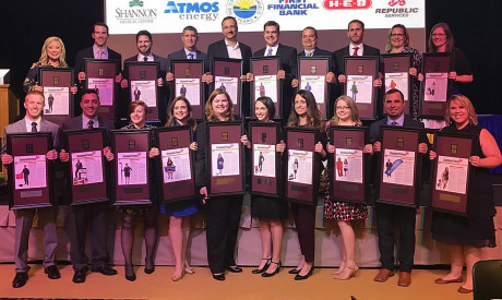"Casarez (front row, center) with fellow 2016 ""Top 20 Under 40"" recipients."