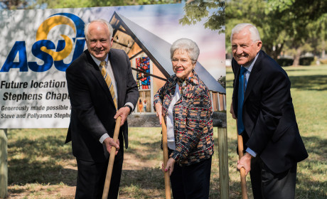 (L to R) ASU President Brian May, Pollyanna Stephens and F.L. ?Steve? Stephens at the chapel grou...