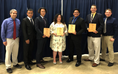 ASU RAMgineers: (L to R) Dr. Anthony Battistini (faculty advisor), L.J. Liang, Andrew An, Emma Re...