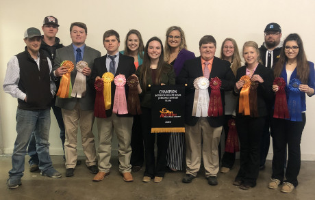 The ASU Wool Judging Team with awards at San Antonio Contest