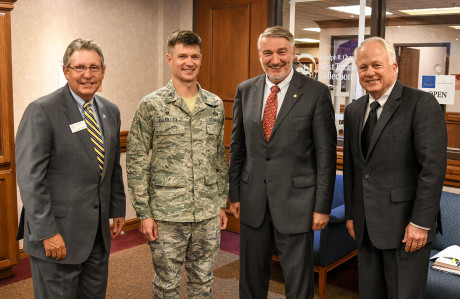 (L to R) Dr. Don Topliff, ASU provost; Col. Thomas Coakley, 17th Training Group commander; Dr. Ra...