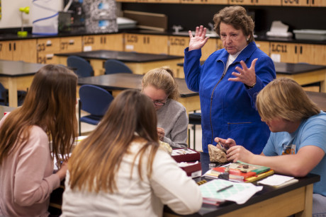 Dr. Christine Purkiss teaching ASU students in one of her science methods classes.
