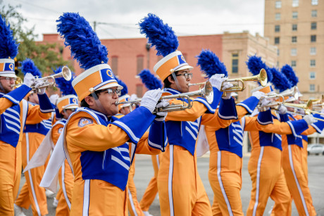 The Angelo State Ram Band in previous Homecoming Parade downtown