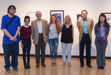 <strong>(L to R) Vincent Tanner, Allison Romo, Dr. E. James Holland, Presley Rumsey, Destiny Crane, Randy Hall, Dr. Carolyn Gascoigne</strong>