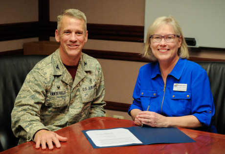 <strong>Col. Steve Van De Walle and Dr. Wrennah Gabbert with the signed training affiliation agreement between ASU and the Goodfellow AFB Clinic</strong>