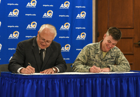 (L to R) ASU President Brian May and Col. Thomas Coakley, commander of the 17th Training Group at...