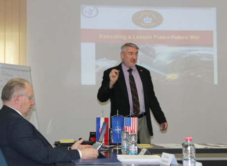 Dr. Mullis teaching on his most recent trip to the Macedonian Military Academy in Skopje.