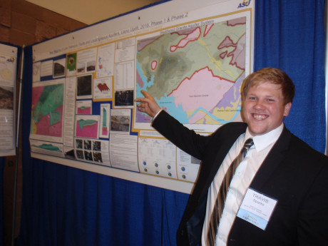 Travis Sparks presented his research at the 2016 annual meeting of the Southwest Section, American Association of Petroleum Geologists (AAPG).