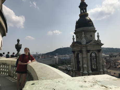 Ashton climbed over 400 steps to the top of St. Stephen's Basilica in Budapest, Hungary.