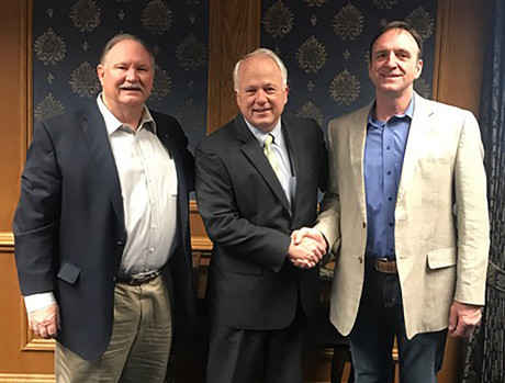 <strong>(L to R) Mike Biggerstaff, ASU President Brian J. May and Kevin Bond</strong>