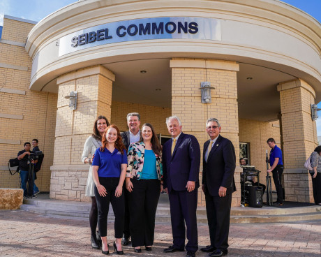 "Representatives of ASU, TTUS and the Seibel Foundation were on hand to unveil the new ""Seibel Commons."""
