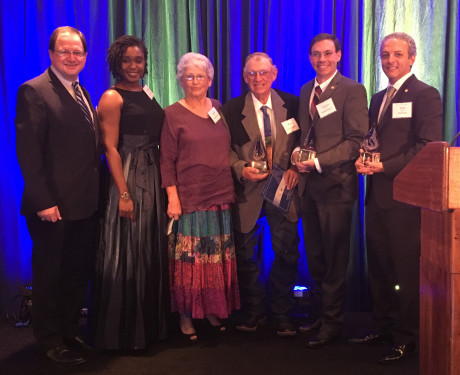 (L to R) Scott Scheffler (Shell), Adetola Abatan (Shell), Janell Ward, Paul W. Ward, Dr. James Ward (ASU) and Amir Gerges (Shell) with the 2017 Bruno Hanson Environmental Excellence Award