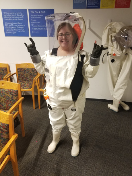 Emily got to try on a Hazmat suit during a tour of the Centers for Disease Control while attending the National Collegiate Honors Council Conference in Atlanta.