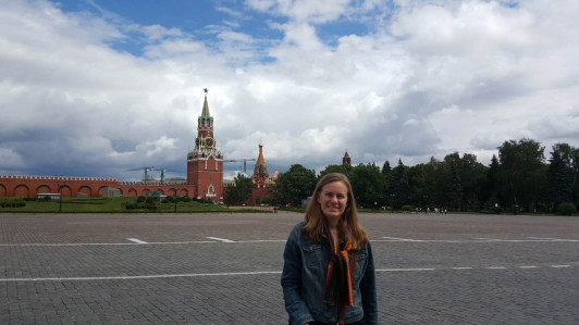 While at the Kremlin, Jones had great views of the Spasskaya Tower.
