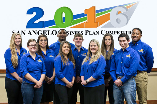 "ASU students, from left, Kayla Johnson, Samantha Querdo, Nadia Buenrostro, Michael McClinton, Vicki Torres, William ""Colton"" Harris, Heather Yates, Brenda Perez, Christian Garcia and Patrick Maxwell helped advise finalists in the 2016 Business Plan Competition."