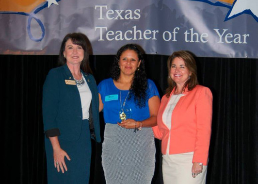 Martha Saucedo (center) accepts the honor of 2016 Texas Secondary Teacher of the Year with Whitney Crews (right), 2016 Texas Elementary Teacher of the Year, and Shanna Peoples of Amarillo, 2015 National Teacher of the Year.